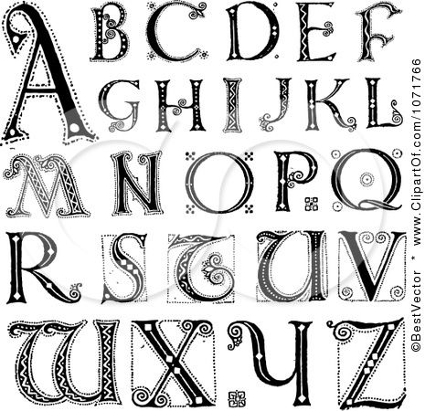 Clipart Black And White Capital Vintage Styled Alphabet Letters.