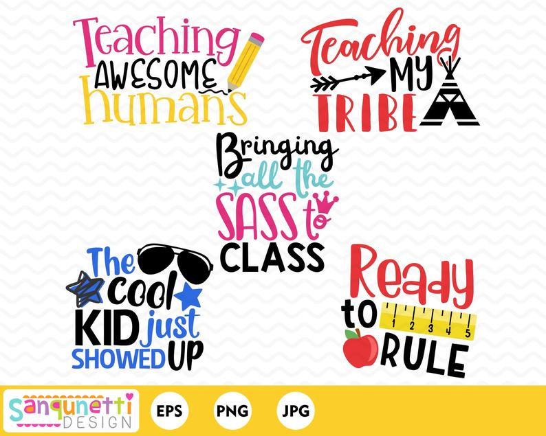 School lettering Clipart, classroom and teacher digital art instant download.