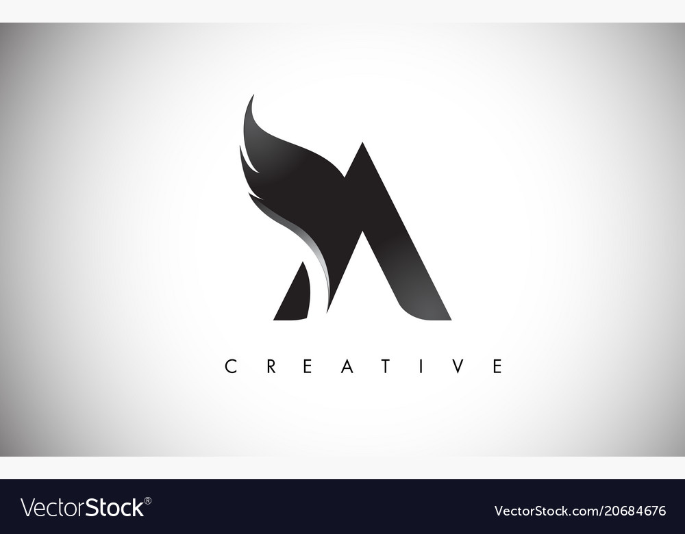 A letter wings logo design with black bird fly.