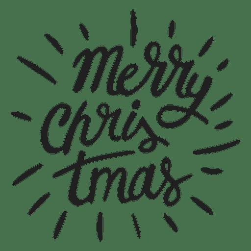 Merry christmas lettering badge.
