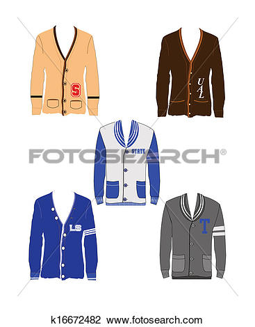 Clipart of letterman sweaters k16672482.