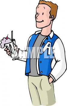 Boy Wearing a Letterman's Jacket, Holding a Milkshake.
