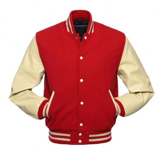 Red Letterman Jacket with Natural Leather Sleeves.