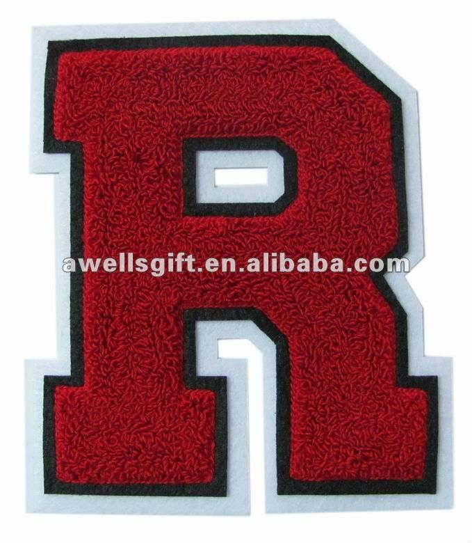 CHENILLE PATCH LETTERS ( R ) FOR VARSITY LETTERMAN JACKET.