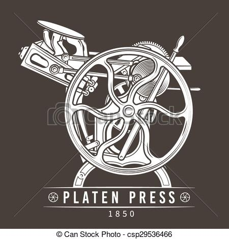Clipart Vector of Letterpress printing machine vector illustration.