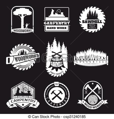 Vector of Retro woodwork and carpentry vector logo set in.