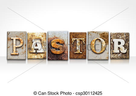 Clip Art of Pastor Letterpress Concept Isolated on White.
