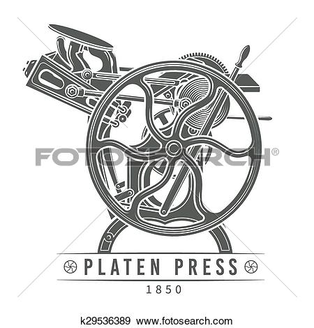 Clip Art of Platen press vector illustration. Old letterpress logo.