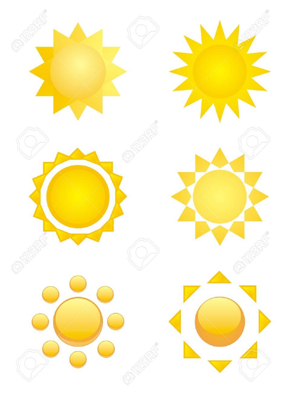6 Gelbe Symbole Von Sonne.