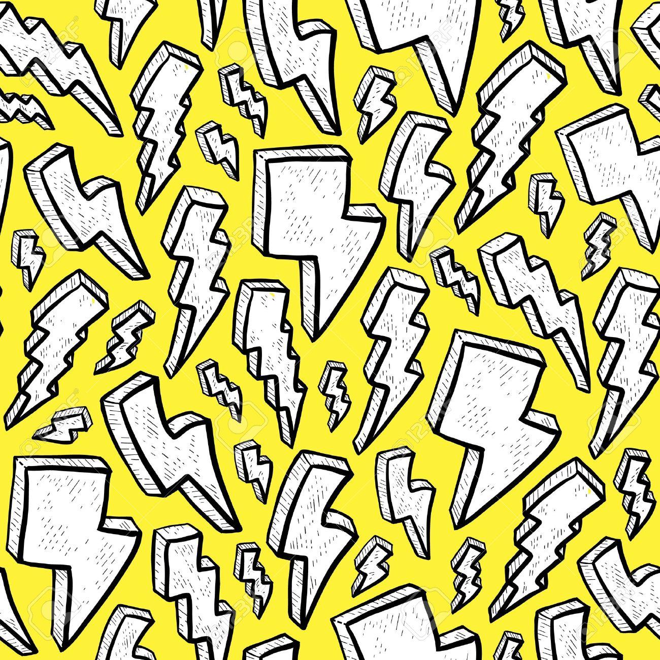 Nette Blitz Muster In Doodle Oder Zeichenstil Diese Cartoons.