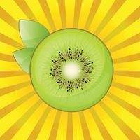 Kiwi MIT Blättern Auf Einem Leuchtend Gelben Hintergrund stock.