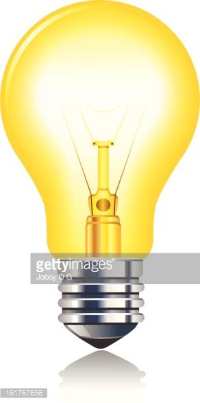 Leuchtend Gelbe Glühlampe premium clipart.