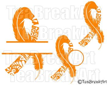 Leukemia Zentangle awareness ribbon feather Digital ClipArt SVG PNG jpg 751C.