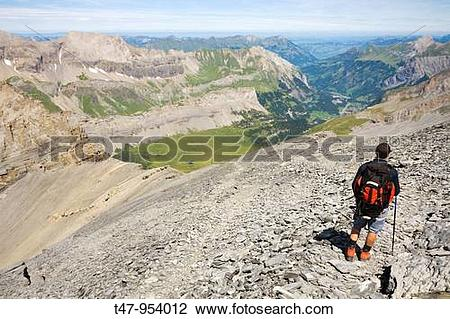 Stock Photo of Walking Near Leukerbad, Wallis, Switzerland t47.