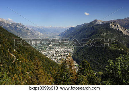 "Stock Photo of ""The view of the Rhone valley from Martigny to."