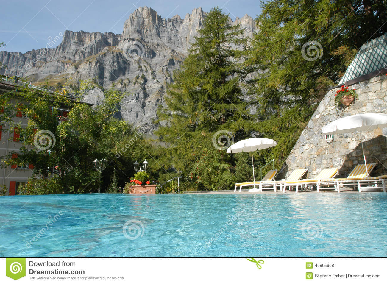 Swimming Pool Of A Hotel At Leukerbad Stock Photo.