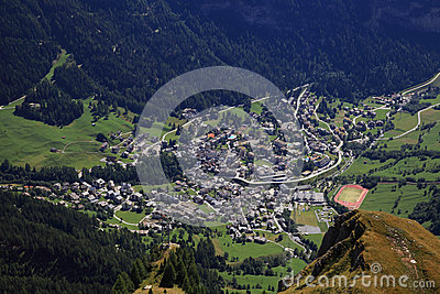 Leukerbad,Alps Village Stock Photos.