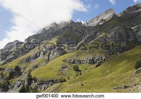 Stock Photography of Switzerland, Valais, Leukerbad, View of.