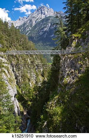 Stock Photography of Bridge inside the Leutasch Gorge in the.