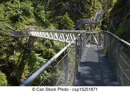 Picture of Leutasch Gorge in the German alps, Bavaria csp15251871.