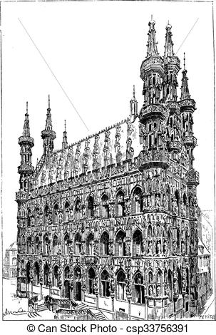 EPS Vectors of Leuven town hall, vintage engraving..