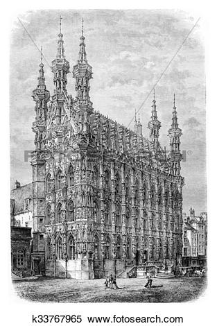 Stock Illustration of Leuven Town Hall, vintage engraving.