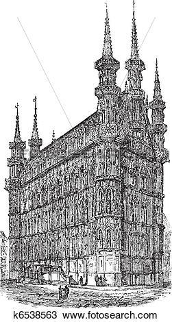 Clipart of Town Hall of Leuven Belgium vintage engraving k6538563.