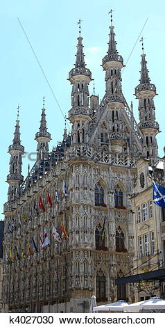 Stock Photography of Medieval city hall in Leuven with blue sky.