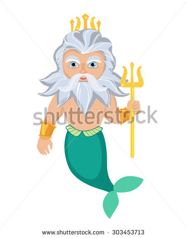 Cartoon Poseidon Vector Clip Art Illustration Stock Vector.