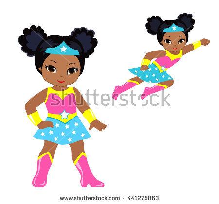 Cute Superhero Girl Vector Clip Art Stock Vector 441275863.