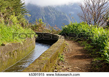 Stock Image of irrigation canal, levada k5391915.