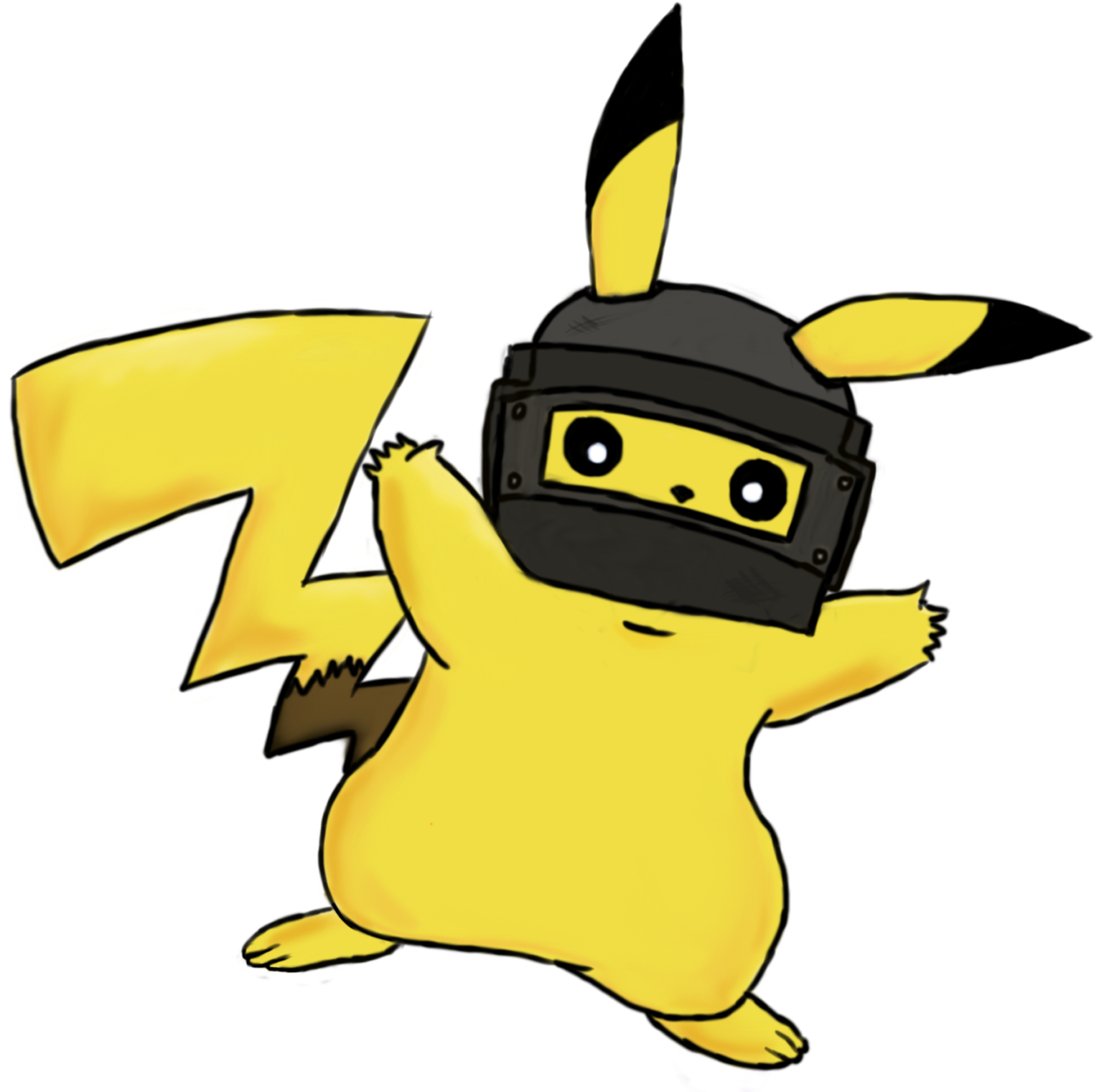 Pikachu With A Level 3 Pubg Helmet.
