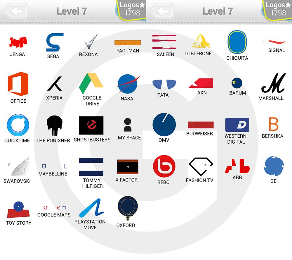 Logo Quiz Extra Levels Lösungen: Expert Level 7.