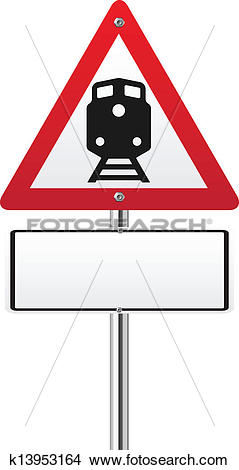Clipart of Railroad level crossing traffic sign k13953164.