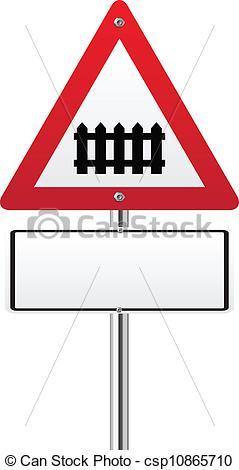 Vector Clip Art of Level crossing with barrier ahead sign.