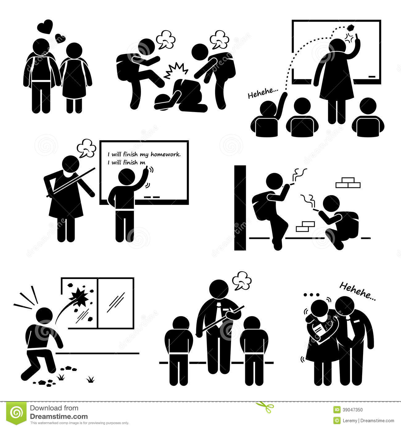 School Education Social Problem Clipart Stock Vector.