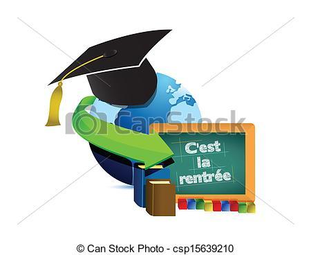 Clip Art Vector of high school education level survey illustration.