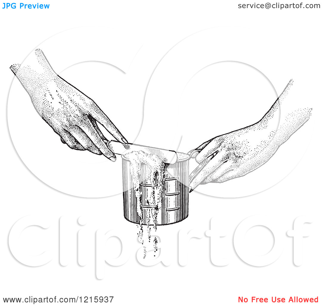 Vintage Clipart of Hands Leveling off a Measuring Cup with a Knife.