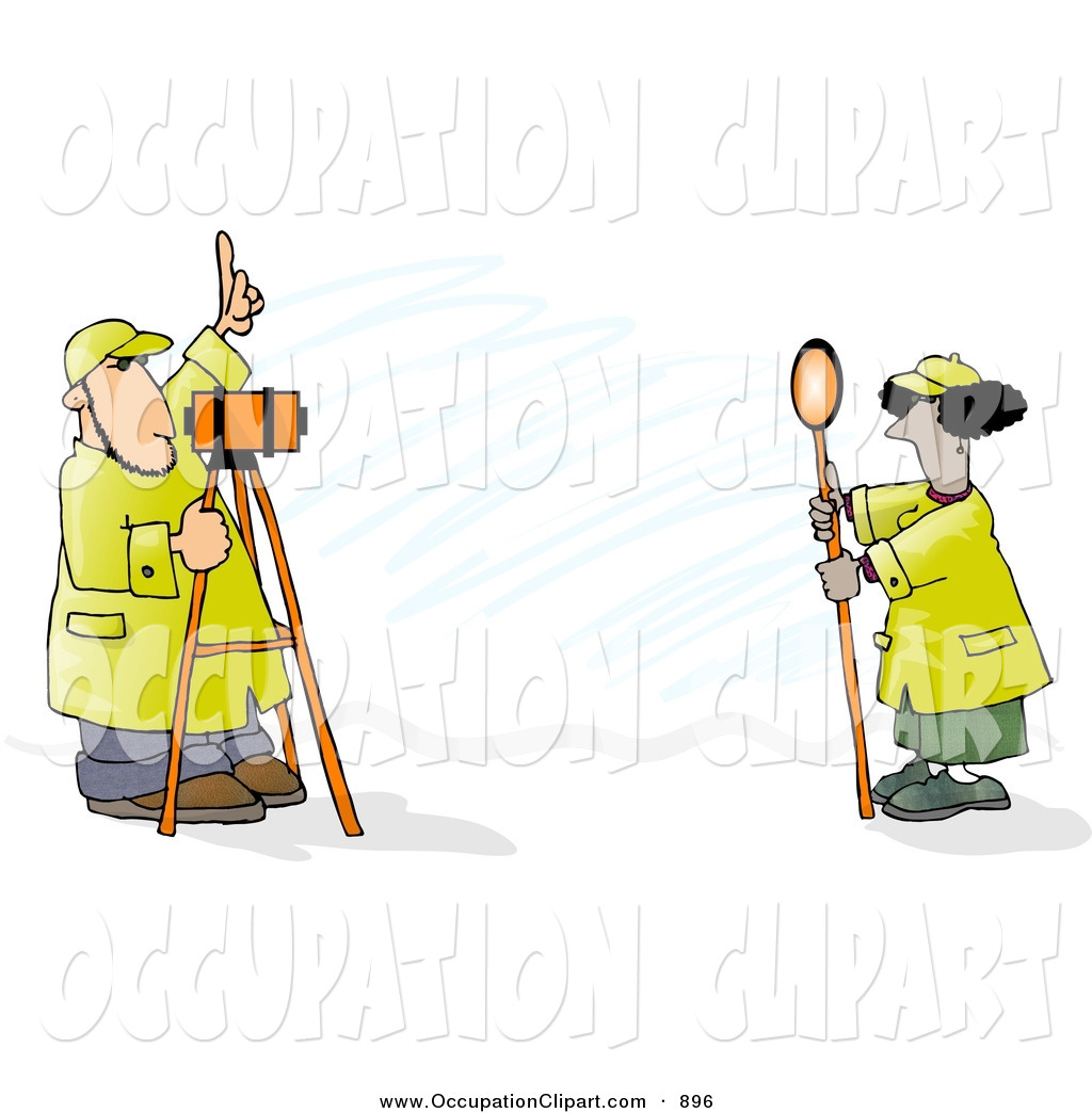 Clip Art of a Male and Female Surveyors at Work with Leveling.