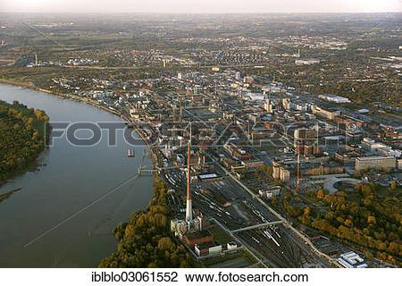 """Stock Photo of """"Aerial view, Bayer Leverkusen, Chempark Leverkusen."""