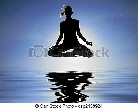 Stock Photo of Levitation over the water.