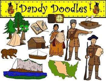 Lewis and Clark Clip Art by Dandy Doodles.