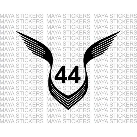 Lewis hamilton 44 logo with wings decal stickers.