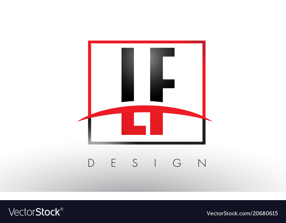 Lf l f logo letters with red and black colors and.