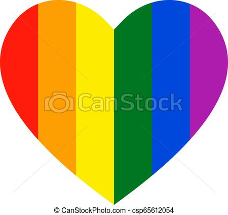Rainbow heart icon. LGBT flag, symbol..