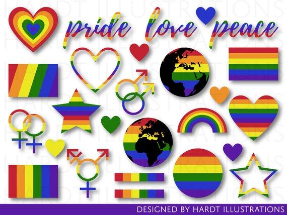 Pride Clipart, Gay Pride Clip Art, Pride Rainbow Clipart.