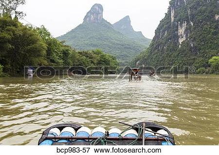"""Picture of """"View from a bamboo raft on the Li River, Yangshuo."""