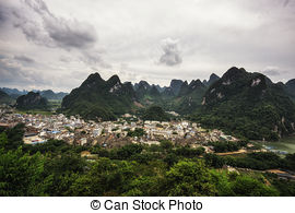 Stock Photography of Li River and Karst Mountains of Guilin.