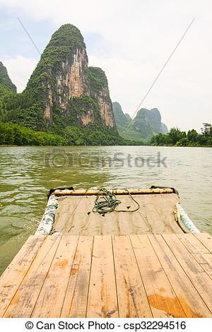 Stock Photography of Bamboo rafting li river china.