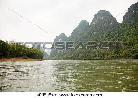 Picture of China, guangxi province, li river is098u5wx.